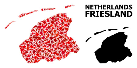 Red star mosaic and solid map of Friesland Province. Vector geographic map of Friesland Province in red color shades. Abstract composition is organized from random flat star items.