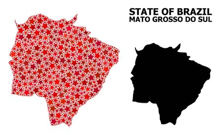 Red star pattern and solid map of Mato Grosso do Sul State. Vector geographic map of Mato Grosso do Sul State in red color variations. Abstract collage is designed from randomized flat star elements.
