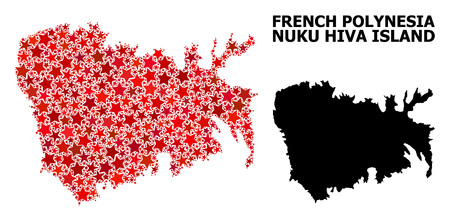 Red star mosaic and solid map of Nuku Hiva Island. Vector geographic map of Nuku Hiva Island in red color tinges. Abstract mosaic is done with random flat star elements.