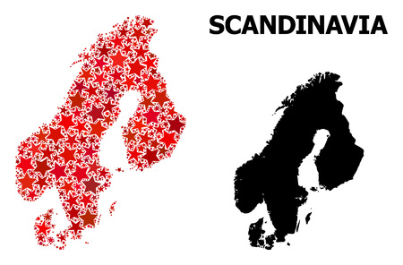 Red star mosaic and solid map of Scandinavia. Vector geographic map of Scandinavia in red color tones. Abstract collage is composed from scattered flat star parts.