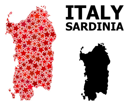 Red starred mosaic and solid map of Sardinia region. Vector geographic map of Sardinia region in red color shades. Abstract mosaic is composed with scattered flat star parts.