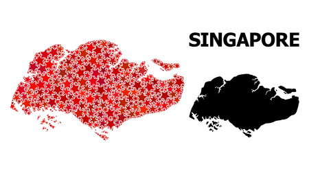 Red star mosaic and solid map of Singapore. Vector geographic map of Singapore in red color tones. Abstract collage is combined with randomized flat star items.