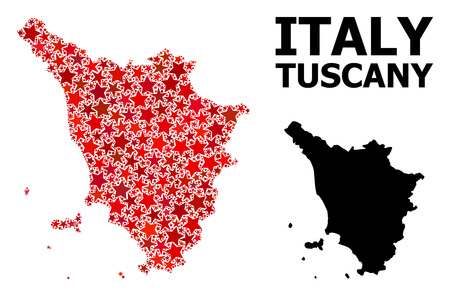 Red star mosaic and solid map of Tuscany region. Vector geographic map of Tuscany region in red color tones. Abstract mosaic is composed from random flat star elements.