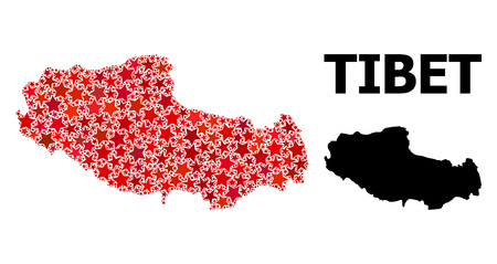 Red star mosaic and solid map of Tibet. Vector geographic map of Tibet in red color tinges. Abstract composition is done with scattered flat star elements. 写真素材 - 124087747