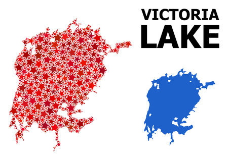 Red star mosaic and solid map of Victoria Lake. Vector geographic map of Victoria Lake in red color tints. Abstract mosaic is composed from randomized flat star elements.