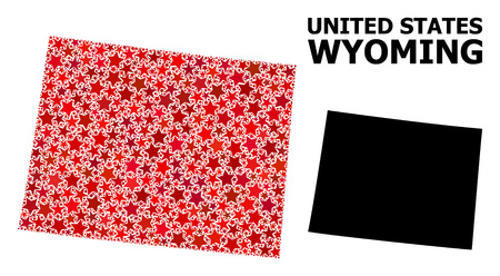 Red star mosaic and solid map of Wyoming State. Vector geographic map of Wyoming State in red color shades. Abstract mosaic is constructed with randomized flat star elements. 일러스트