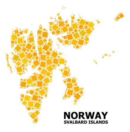 Gold square mosaic vector map of Svalbard Islands. Abstract composition geographic map of Svalbard Islands is designed from scattered flat rotated square pixels. Illustration