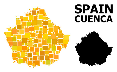 Gold square mosaic and solid map of Cuenca Province. Vector geographic map of Cuenca Province in yellow golden color hues. Abstract mosaic is organized from randomized flat square elements.