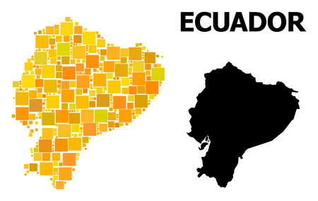 Gold square pattern and solid map of Ecuador. Vector geographic map of Ecuador in yellow golden color variations. Abstract concept is done from random flat square items.  イラスト・ベクター素材