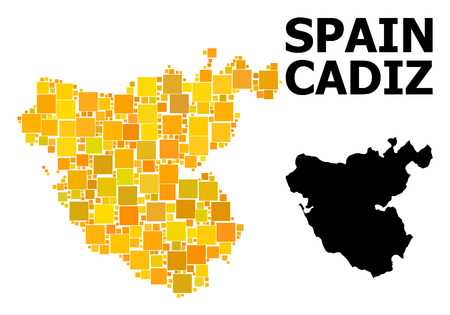 Gold square mosaic and solid map of Cadiz Province. Vector geographic map of Cadiz Province in yellow golden color variations. Abstract mosaic is created from randomized flat square items.