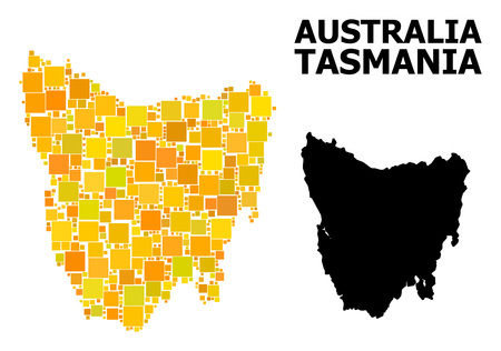 Gold square mosaic and solid map of Tasmania Island. Vector geographic map of Tasmania Island in yellow golden color shades. Abstract mosaic is created from scattered flat rectangular parts.