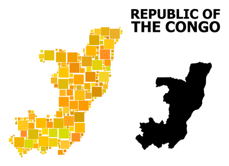 Gold square pattern and solid map of Republic of the Congo. Vector geographic map of Republic of the Congo in yellow golden color shades. Abstract concept is constructed with random flat square parts.