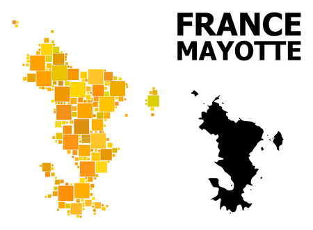 Gold square mosaic and solid map of Mayotte Islands. Vector geographic map of Mayotte Islands in yellow golden color variations. Abstract mosaic is combined with scattered flat square items.