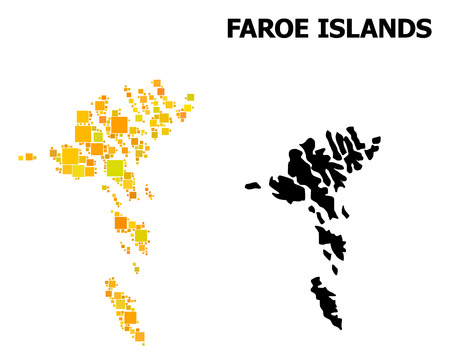 Gold square mosaic and solid map of Faroe Islands. Vector geographic map of Faroe Islands in yellow golden color variations. Abstract mosaic is designed with scattered flat rectangle points.