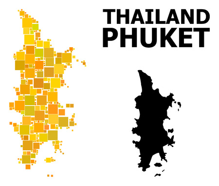 Gold square mosaic and solid map of Phuket. Vector geographic map of Phuket in yellow golden color tones. Abstract composition is designed with scattered flat square elements. Иллюстрация