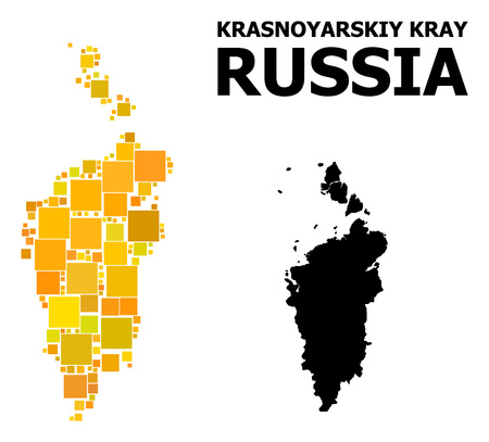Gold square mosaic and solid map of Krasnoyarskiy Kray. Vector geographic map of Krasnoyarskiy Kray in yellow golden color hues. Abstract mosaic is created with randomized flat square parts.
