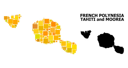 Gold square pattern and solid map of Tahiti and Moorea islands. Vector geographic map of Tahiti and Moorea islands in yellow golden color tinges.