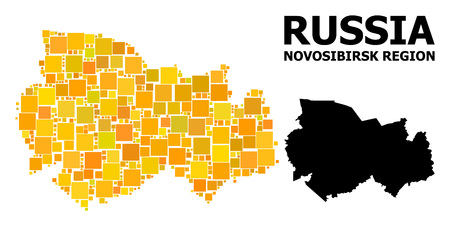 Gold square mosaic and solid map of Novosibirsk Region. Vector geographic map of Novosibirsk Region in yellow golden color variations. Abstract mosaic is organized with scattered flat square pixels.  イラスト・ベクター素材