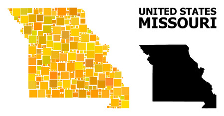 Gold square mosaic and solid map of Missouri State. Vector geographic map of Missouri State in yellow golden color variations. Abstract mosaic is composed from scattered flat square dots. Ilustração