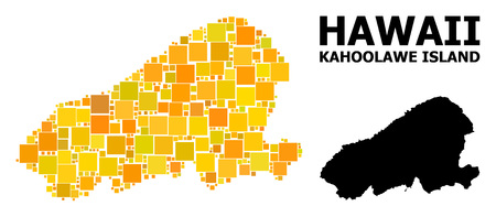 Gold square mosaic and solid map of Kahoolawe Island. Vector geographic map of Kahoolawe Island in yellow golden color tinges. Abstract mosaic is created from randomized flat rectangular items.