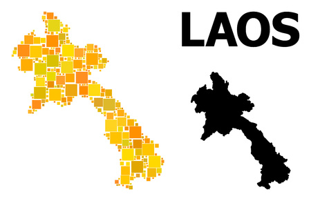 Gold square mosaic and solid map of Laos. Vector geographic map of Laos in yellow golden color tinges. Abstract mosaic is done with random flat square parts.