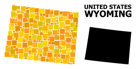 Gold square mosaic and solid map of Wyoming State. Vector geographic map of Wyoming State in yellow golden color tints. Abstract mosaic is composed with random flat square dots.