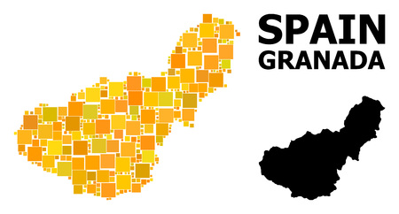 Gold square mosaic and solid map of Granada Province. Vector geographic map of Granada Province in yellow golden color tones. Abstract mosaic is constructed with randomized flat square dots. Иллюстрация