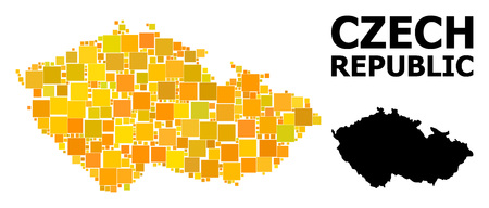 Gold square pattern and solid map of Czech Republic. Vector geographic map of Czech Republic in yellow golden color shades. Abstract collage is done from scattered flat square dots.