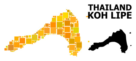 Gold square mosaic and solid map of Koh Lipe. Vector geographic map of Koh Lipe in yellow golden color variations. Abstract mosaic is organized from random flat square items. Illustration