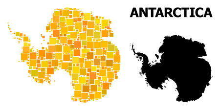 Gold square mosaic and solid map of Antarctica. Vector geographic map of Antarctica in yellow golden color tints. Abstract mosaic is composed with random flat square dots.