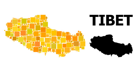Gold square mosaic and solid map of Tibet. Vector geographic map of Tibet in yellow golden color tints. Abstract mosaic is done from randomized flat square elements. 写真素材 - 124087804
