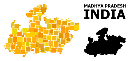 Gold square mosaic and solid map of Madhya Pradesh State. Vector geographic map of Madhya Pradesh State in yellow golden color hues.