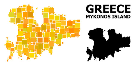 Gold square mosaic and solid map of Mykonos Island. Vector geographic map of Mykonos Island in yellow golden color shades. Abstract mosaic is combined from randomized flat square dots.