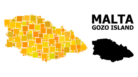 Gold square mosaic and solid map of Gozo Island. Vector geographic map of Gozo Island in yellow golden color hues. Abstract mosaic is designed with random flat square items.