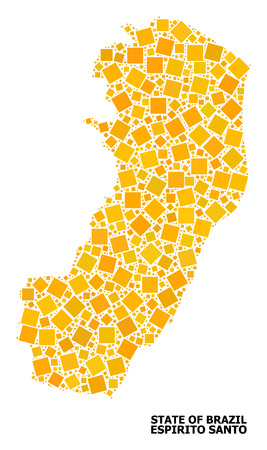 Gold square mosaic vector map of Espirito Santo State. Abstract mosaic geographic map of Espirito Santo State is organized with randomized flat rotated rectangular parts.