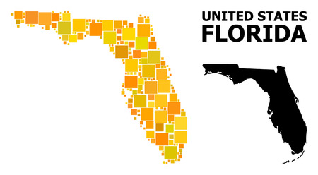 Gold square mosaic and solid map of Florida State. Vector geographic map of Florida State in yellow golden color tints. Abstract mosaic is combined from random flat square parts.