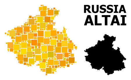 Gold square mosaic and solid map of Altai Republic. Vector geographic map of Altai Republic in yellow golden color hues. Abstract composition is done with random flat square items.