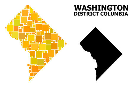 Gold square mosaic and solid map of District Columbia. Vector geographic map of District Columbia in yellow golden color shades. Abstract mosaic is constructed with randomized flat rectangle pixels.