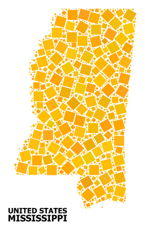 Gold square mosaic vector map of Mississippi State. Abstract composition geographic map of Mississippi State is combined from random flat rotated square pixels. Ilustração
