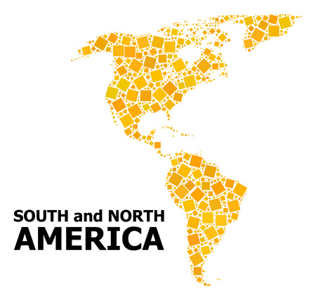 Gold square mosaic vector map of South and North America. Abstract composition geographic map of South and North America is organized with randomized flat rotated square points. Ilustração