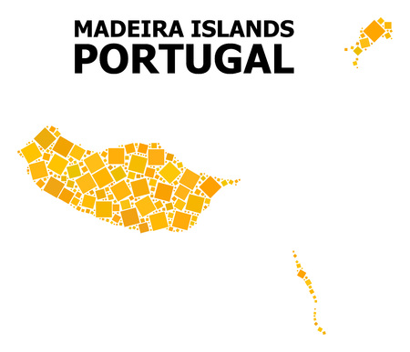Gold square mosaic vector map of Madeira Islands. Abstract mosaic geographic map of Madeira Islands is constructed with random flat rotated square pixels.