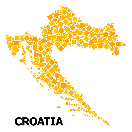 Gold square pattern vector map of Croatia. Abstract collage geographic map of Croatia is organized from random flat rotated square items. Vector illustration in yellow golden color tones. Illustration