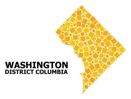 Gold square pattern vector map of District Columbia. Abstract concept geographic map of District Columbia is designed from scattered flat rotated square parts. Illustration