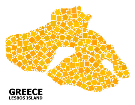 Gold square pattern vector map of Lesbos Island. Abstract composition geographic map of Lesbos Island is composed with scattered flat rotated square parts.