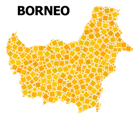 Gold square mosaic vector map of Borneo Island. Abstract mosaic geographic map of Borneo Island is designed from randomized flat rotated rectangle points.
