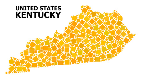 Gold square mosaic vector map of Kentucky State. Abstract mosaic geographic map of Kentucky State is created with scattered flat rotated square dots. Vector illustration in yellow golden color tones.