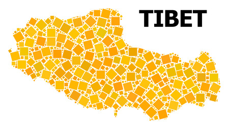 Gold square pattern vector map of Tibet. Abstract collage geographic map of Tibet is designed from random flat rotated square points. Vector illustration in yellow golden color hues.