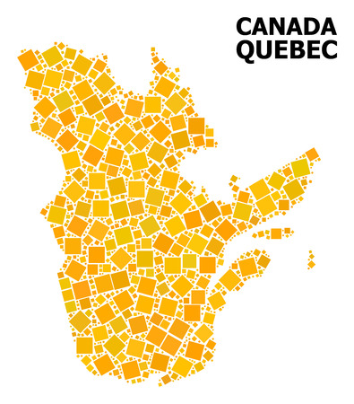 Gold square mosaic vector map of Quebec Province. Abstract concept geographic map of Quebec Province is composed from randomized flat rotated square parts. Illustration