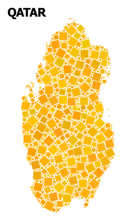 Gold square mosaic vector map of Qatar. Abstract mosaic geographic map of Qatar is designed from scattered flat rotated square elements. Vector illustration in yellow golden color tones.