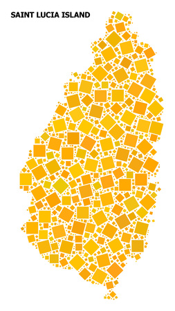Gold square mosaic vector map of Saint Lucia Island. Abstract mosaic geographic map of Saint Lucia Island is designed with randomized flat rotated square pixels. Illustration